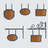 Medieval wood sign. Set of vector medieval wood sign hanging on chains isolated on white Royalty Free Stock Photography