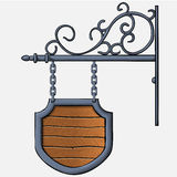 Medieval wood sign Royalty Free Stock Photography