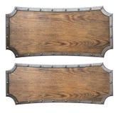 Medieval wood signs set 3d illustration. Old medieval wood signs set isolated vector illustration