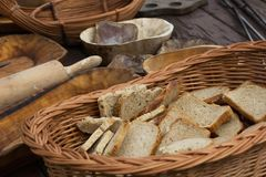 The medieval wooden bowls. The traditional medieval of dishes royalty free stock images