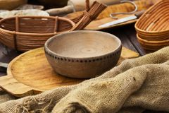 The medieval wooden bowls. The traditional medieval of dishes royalty free stock image