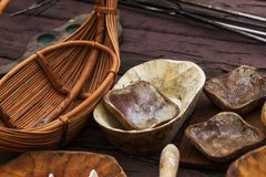 The medieval wooden bowls. The traditional medieval of n dishes royalty free stock photos