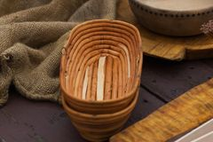 The medieval wooden bowls Stock Photo