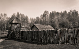 Medieval wooden castle - Slavic stronghold Royalty Free Stock Image