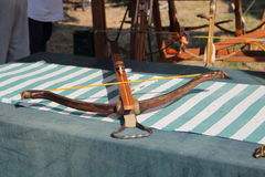 Medieval wooden crossbow in exibition. Medieval fair Royalty Free Stock Photography
