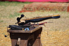 Medieval wooden crossbow in exibition. Medieval fair Stock Photo