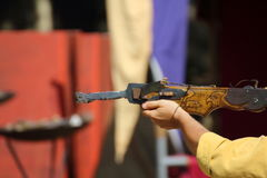 Medieval wooden crossbow in exibition. Medieval fair Stock Images