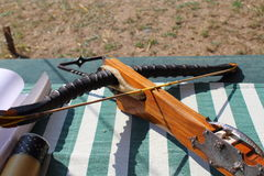 Medieval wooden crossbow in exibition. Medieval fair Royalty Free Stock Photos