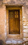 Medieval Wooden Door and Entryway in France Royalty Free Stock Photography