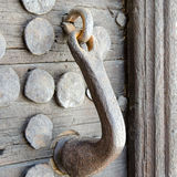 Medieval wooden door, metal handle and bolts Stock Image