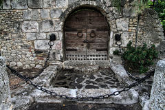 Medieval wooden door. In the touristic place of Altos de Chavón, Dominican Republic Royalty Free Stock Images