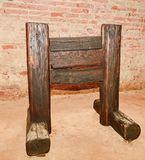 Medieval wooden guillotine. Medieval instrument of torture . Royalty Free Stock Images