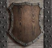 Medieval wooden shield on castle gate 3d illustration vector illustration