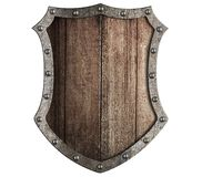 Medieval wooden shield isolated royalty free stock images