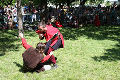 Medieval wrestling fight Royalty Free Stock Photography
