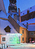 Medieval yard in old city of Riga, Latvia Royalty Free Stock Images
