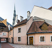 Medieval yard in old city of Riga, Latvia Stock Image