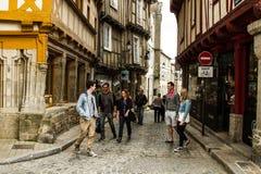 Medieveil Street of Vannes. Small quaint streets of Vannes, Bretagne, France Stock Images