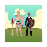 Medievel and modern, businessman knight in metal armor and business suit Royalty Free Stock Photo