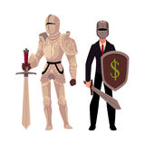 Medievel and modern, businessman knight in metal armor and business suit. Cartoon vector illustration isolated on white background. Two knights - modern and Stock Photography