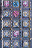 Medievel ornament elements on castle`s door. Royalty Free Stock Photography
