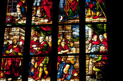 Medievel stories on the colorful glass. Inside duomo cathedral Stock Photo
