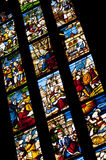 Medievel stories on the colorful glass. Inside duomo cathedral Royalty Free Stock Images
