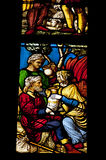Medievel stories on the colorful glass. Inside duomo cathedral Stock Image
