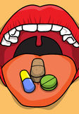 Mediical Pills and Tablets  on Tongue Royalty Free Stock Photos