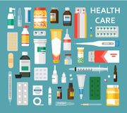 Medikamente stellten Illustrationen ein stock abbildung