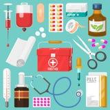 Medikamentet för medicinska instrument och doktorshjälpmedeli tecknad film utformar vektorn för behandling för läkarbehandlingsju vektor illustrationer