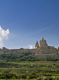 Medina. The dome of the medieval cathedral overlooking the bastions of the old city of Malta, Mdina Royalty Free Stock Photography