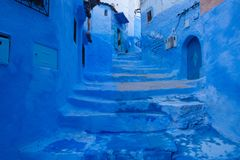 Medina azul bonito da cidade de Chefchaouen em Marrocos, África Fotos de Stock Royalty Free