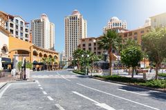 The Medina Centrale district at the Pearl in Doha stock photography