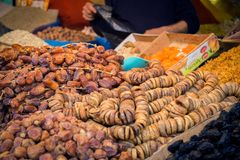 Nuts and dried fruits shop. Medina of Fes, Morocco. March 18, 2014 : Nuts and dried fruits shop stock photography