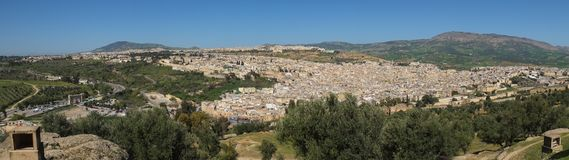 Panoramic view of the Old Fez city. stock image