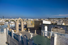 The medina of Tunis. Tunisia. Tunis - old town (medina). Terrace of Palais d'Orient with ornamental arches and wall covered tiles Stock Photo