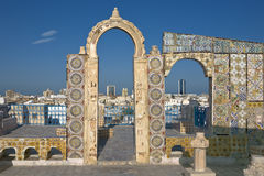 Medina of Tunis. Tunisia. Tunis - old town (medina) seen from roof top. Ornamental arches and wall covered tiles with geometric shape motifs Stock Image