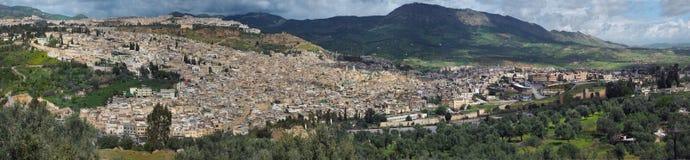 Medina van de oude panoramische stad van Fez, Marokko Royalty-vrije Stock Afbeeldingen