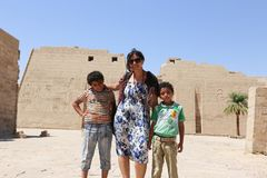 Mother with children at temple - Egypt Royalty Free Stock Image