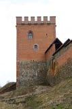 Medininkai,立陶宛老城堡废墟  一座城堡的废墟在欧洲,随着时间的推移被风化 老城堡,与蓝色的立陶宛城堡 免版税库存照片