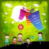 Medio Autumn Festival-achtergrond die met jonge geitjes lantaarns spelen vector illustratie