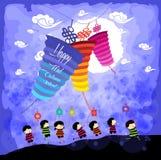 Medio Autumn Festival-achtergrond die met jonge geitjes lantaarns spelen stock illustratie
