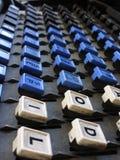 Medio cercano para arriba de llaves de la máquina de linotipia Fotografía de archivo libre de regalías