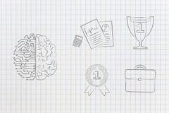 Medio medio cerebro humano digital al lado del grupo de icono relacionado con el trabajo Imagen de archivo libre de regalías