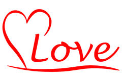 Medio corazón con la escritura del amor Foto de archivo libre de regalías