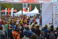 Medio lanzamiento Sofia Bulgaria del maratón Foto de archivo
