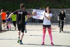 Medio maratón de Kiev en Kyiv Fotos de archivo libres de regalías