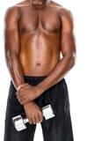 Medio sectie van de geschikte shirtless domoor van de mensenholding Royalty-vrije Stock Fotografie