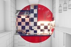 A medio terminar interior de la pequeña cocina Foto de archivo libre de regalías